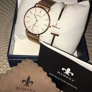 Mamona Women's Rose Gold Watch & Bracelet in box